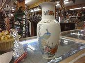 "10.5"" FINE CHINA FLORAL VASE WITH PEACOCKS - JAPAN"